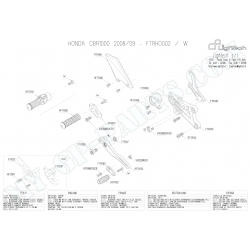 Pièces détachées commandes reculées LIGHTECH CBR 1000 RR 08 - 13 FTRHO002