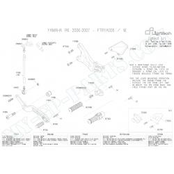 Pièces détachées commandes reculées LIGHTECH YAMAHA R6 06 - 07 FTRYA005