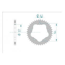 Couronne Aluminium AFAM 520 pour kit de conversion porte couronne DUCATI 748 / 848 / 916 / 996 / 998 / HYPERMOTARD 796 - 1100 /