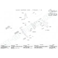 Pièces détachées commandes reculées LIGHTECH GSXR 1000 09 - 13