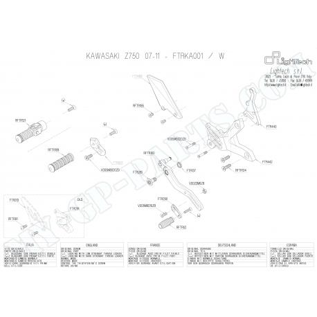 Pièces détachées commandes reculées LIGHTECH KAWASAKI Z750 07-121 FTRKA001