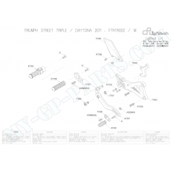 Pièces détachées commandes reculées LIGHTECH TRIUMPH DAYTONA / STREET TRIPLE 675
