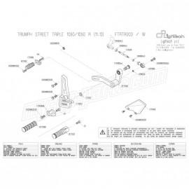 Pièces détachées commandes reculées LIGHTECH TRIUMPH SPEED TRIPLE 1050 / 1050R 11-14 FTRTR003